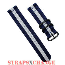 PREMIUM PVD ZULU® 2 Piece NAVY WHITE Military Divers watch strap band Nylon
