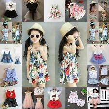 Kids Baby Girls Outfits Clothes T-shirt Tops +Kids Pants/Shorts/Skirt 2/3PCS Set