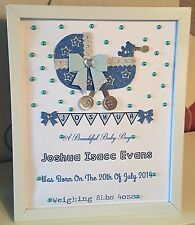 Personalised New Baby, Birth, Christening Girl Boy Framed Handmade Gift Keepsake
