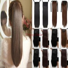 Tail Hair Extension Clip In Ponytail Pony Wrap On Hair Piece Straight Wavy H96