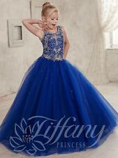 Flower Girl Dress Wedding Birthday gift Pageant Royal blue Prom popular present