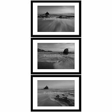 Set of 3 Black White framed prints pictures Scenic Ocean Rocks Sea Beach Waves