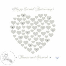 Handmade Personalised Second Wedding Anniversary Card Hearts Cotton Gift Years