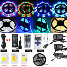 5M Led Strip 300LED 3528/5050/5630 SMD RGB/White Light Strips+Remote+2A/5A Power