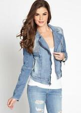 NEW WOMENS GUESS ZOE ZIP DENIM JEANS EMBELLISHED CRYSTAL STUDDED JACKET M