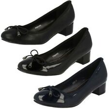 Ladies Spot On Low Block Heeled Shoes