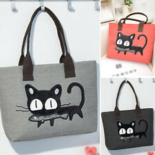CAT Women College Canvas Shoulder Bag Messenger Purse Shopper Tote Handbag Beach