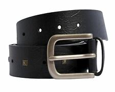 New Mens Studded Textured Single Keeper Pin Buckle Leather Belts S-3XL