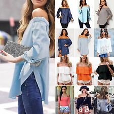 Sexy Womens Off Shoulder Loose Tee Shirts Tops Blouse Celeb Long Sleeve T-Shirt