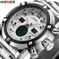 Weide Men's Sport LCD Analog Digital Alarm Date Day Full Steel Army Wrist Watch