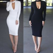 Fashion Women V Neck  Bodycon Long Sleeve Evening Sexy Party Cocktail Dress