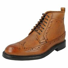 EDWARD LORD MENS CLARKS TAN BROWN LEATHER LACE UP FORMAL BROGUE ANKLE BOOTS