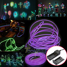 9,15Ft LED Light Glow EL Wire String Strip Rope Tube Car Party+Controller Purple