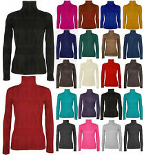 LADIES WOMENS LONG SLEEVE TURTLE POLO NECK TOP ROLL NECK TOP JUMPER