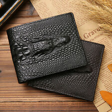 Men Vintage #J Genuine Leather Wallet Handmade Purse for Boyfriend Black Coffee