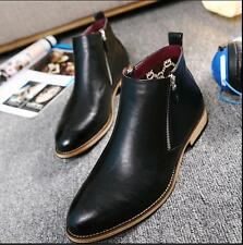 Mens oxford brogue Shoes Ankle Boots Dress Casual zipper Leather dress loafer