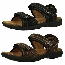 MENS CLARKS UNBRYMAN SUN LEATHER UNSTRUCTURED OPEN TOE SUMMER RIPTAPE SANDALS