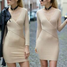 Women Bandage Bodycon Long Sleeve Evening Sexy Party Cocktail Knitted Mini Dress