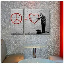Synthetic CANVAS +GIFT Doctor Peace Love Heart Banksy 2 Panels Wall Decor