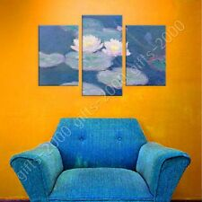 Synthetic CANVAS +GIFT Water Lilies Claude Monet 3 Panels Giclee Paintings