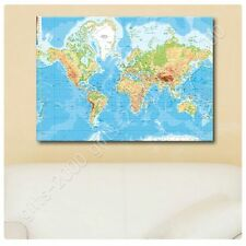 Synthetic CANVAS +GIFT Physical Modern World Map Giclee Posters Wall Art