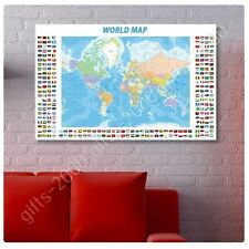 Synthetic CANVAS +GIFT Political Modern Flags World Map Wall Art Painting