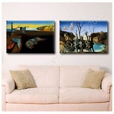 Synthetic CANVAS +GIFT Persistence Memory Swans Elephants Melting Clock