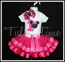 Hot pink First Minnie Mouse Birthday onesie ribbon tutu dress bow