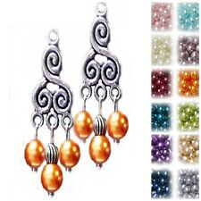 Earrings silver chandelier and pearl, choose color and clip on or pierced