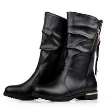 Plus Size Womens Western Tassel Zipper Pull On Cowboy Mid Calf Boots Chic Shoes