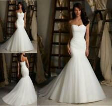 New Mermaid Pleat Train Bride Customize Wedding Dress 2 4 6 8 10 12 14 16 18 F66