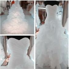New White Ivory Tiered Pleat Train Customize Wedding Dress 2 4 6 8 10 12 14 16