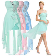 Sexy High-Low Chiffon Ball Cocktail Bridesmaid Dress Wedding Evening Party Gown