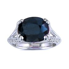 14K WHITE GOLD 3 3/4 CT OVAL GENUINE SAPPHIRE AND DIAMOND RING