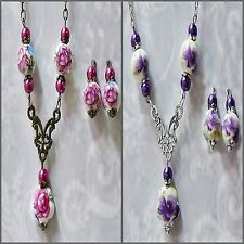 Necklace Earrings Set, Porcelain bead, choose colour, and fittings