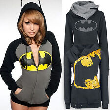 Ladies Batman Print Hoodie Sweatshirt Hooded Coat Jacket Zip Jumper Pullover Top