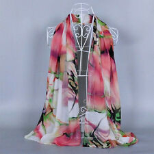 2016 Autumn Lady Girl Fashion Long Soft Chiffon Floral Wrap Shawl Stole Scarf