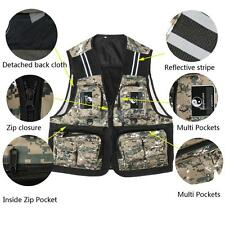 Pocket Fly Fishing Mesh Vest Photography Hunting Waistcoat Reflective Stripe