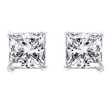 0.40 Ct Square Princess Cut 14K Gold Diamond Stud Earrings