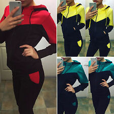 Womens 2pcs Colorblock Tracksuit Hoodie Sweatshirt Pants Casual GYM Sports Suits