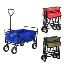 Red/Blue Collapsible Folding Wagon Cart Garden Buggy Shopping Beach Toy Sports
