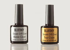 BLUESKY Top Coat / Base Coat UV / LED Soak Off Nail Gel Polish Art - free wipes