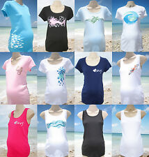 Mermaid Mama Maternity Tee Tank Top Beach Surf T Shirt Fish Seahorse New
