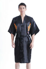 Chinese Silk/satin Men's Dragon Kimono Robe Gown Bathrobe S M L XL XXL 3XL Black