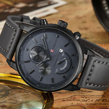 CURREN Mens Military Date Quartz Analog Army Sport Wrist Watch Leather Band