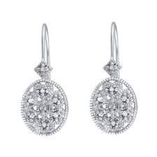 Diamond Accent Filigree Leverback Earrings in Gold Over