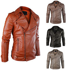 New Fashion Mens Slim Fit Jacket PU Leather Punk Motorcycle Biker Coat Outerwear