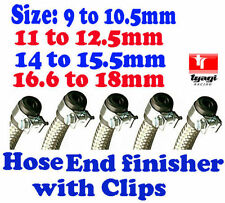 STAINLESS STEEL BRAIDED FUEL HOSE FINISHER WITH CLIPS RUBBER END CAP AND CLIPS