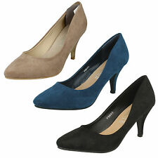 LADIES SPOT ON POINTED TOE SUEDE MID HEEL FORMAL SLIP ON COURT SHOES SIZE F9643