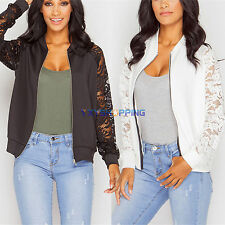 Womens Crochet Lace Bomber Jacket Long Sleeve Zipper Cardigan Coat Tops Blouse